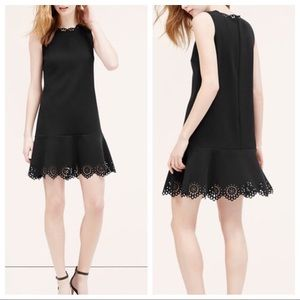 Loft | Laser Cut Scallop Flounce Dress